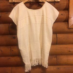 Tops - HANDMADE fringed natural white boho cotton tunic